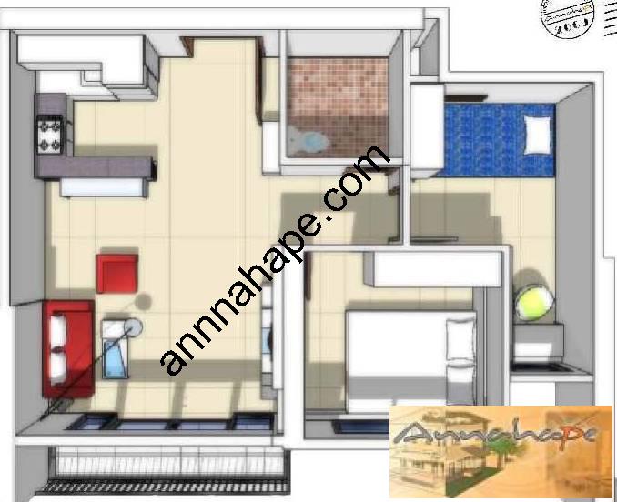 Denah interior apartemen hton