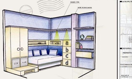 Sketsa Perspektif Kamar Anak Annahape Studio Desain