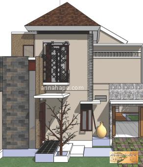 Desain Rumah Tropis Etnik vertikal