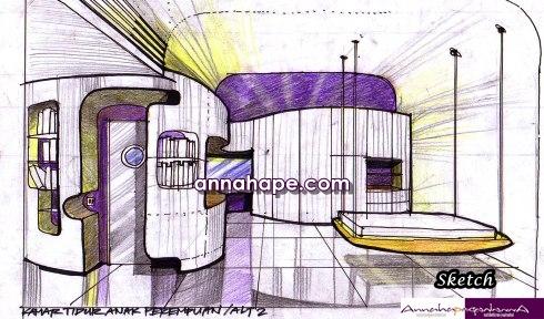 Sketsa Rumah on Sketsa Ruang Tidur Remaja Putri 02   Annahape Studio Desain Rumah